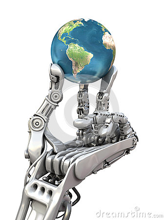 Free Robot Keeps The Earth. Planet In Hands At High Technology. Conceptual 3d Illustration Stock Photos - 45485233