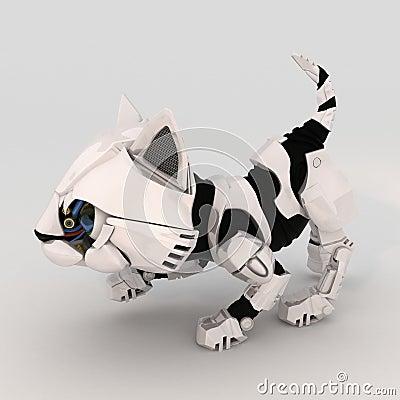 Robot Kitten, Crouching, over white