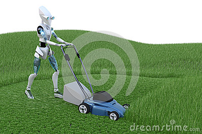 Robot with Lawnmower