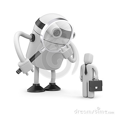 Robot with magnifying glass analyzing businessman