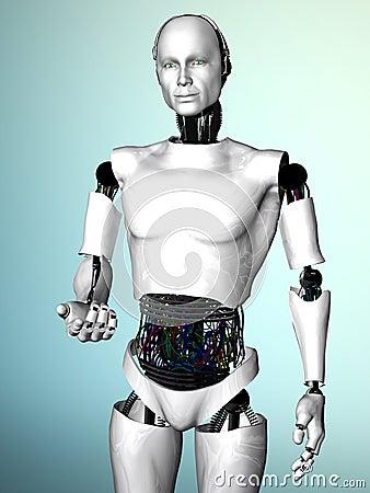 Robot man inviting you.