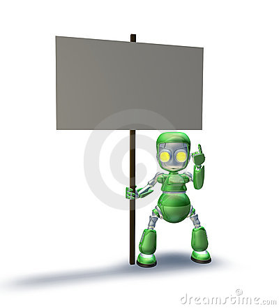 Robot mascot character pointing up to placard sign
