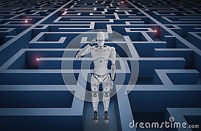 Robot in maze Stock Photo