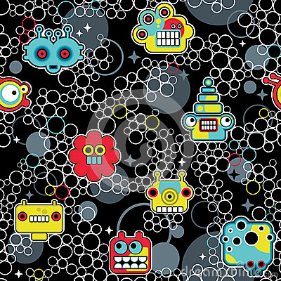 Robot and monsters with bubbles seamless pattern.