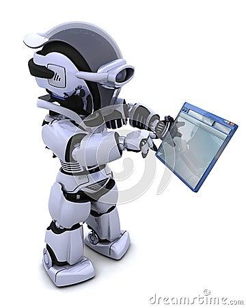 Free Robot Navigating Through Computer Window Stock Image - 15740791