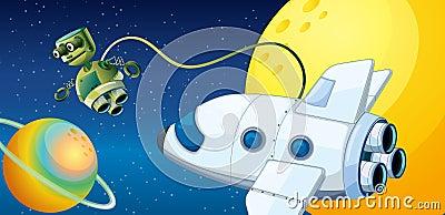 A robot near a planet with an orbit