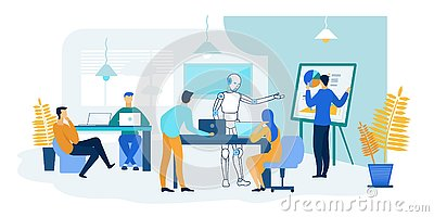 Robot and People Work Together. Future Technology Vector Illustration
