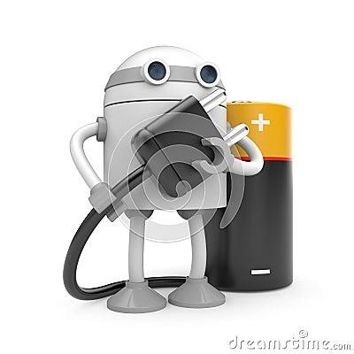 Robot with plug and battery