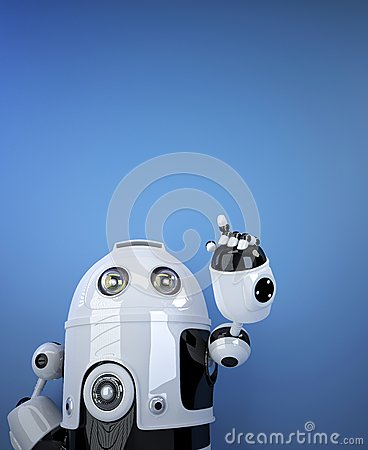Robot pointing at invisible object.