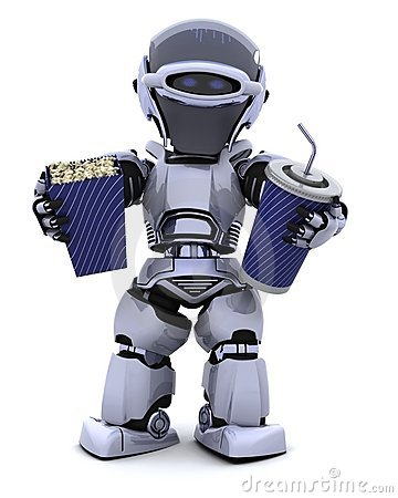 Robot with pop corn bucket and soda