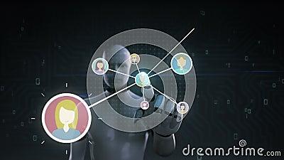 Robot rörande mänsklig symbol för cyborg, förbindande folk, affärsnätverk social symbol för massmediaservice 1