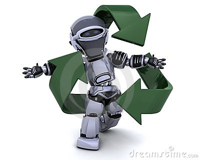 Robot and recycle sign