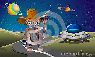 A robot at the road with a spaceship in the outerspace