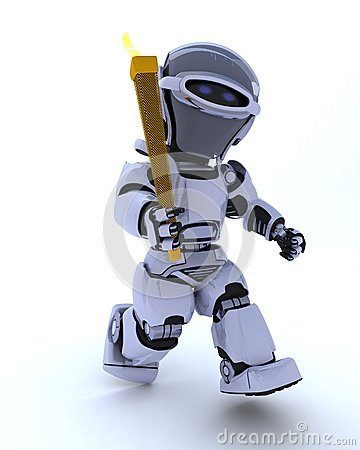 Robot running with olympic torch