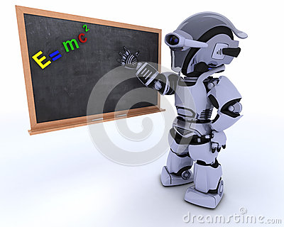 Robot with school chalk board