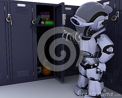 Robot with school locker
