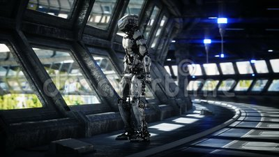 Robot in Sci fi tonnel. Concept of future. Realistic 4K animation. stock video