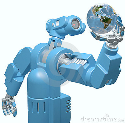 Robot science technology hand holds Earth globe