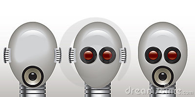 Robot see no evil, speak no evil, hear no evil