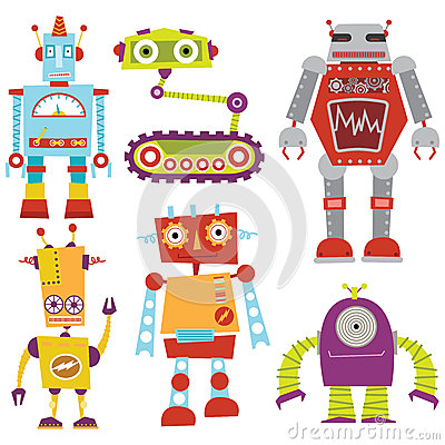 Free Robot Set Royalty Free Stock Images - 57522759