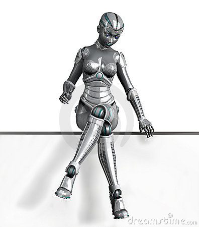 Robot Sitting on Frame Edge - with clipping path