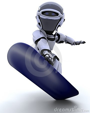 Robot with snowboard