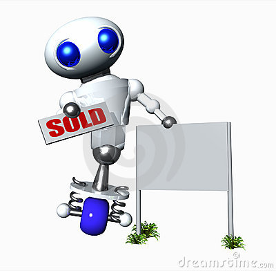Robot With A Sold Sign