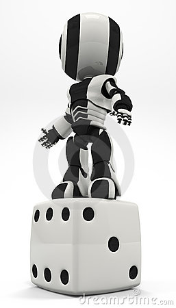 Robot Standing Victorious on Dice