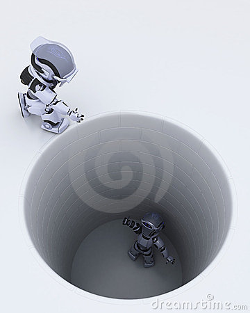 Robot stuck in a hole metaphor