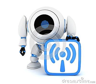 Robot and symbol Wi-Fi