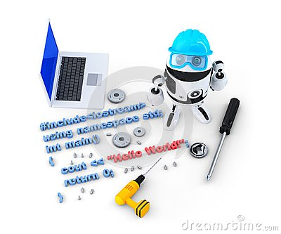 Robot with tools and program source code. Isolated. Contains clipping path Stock Photo