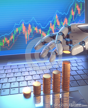 Free Robot Trading System On The Stock Market Royalty Free Stock Image - 71106086