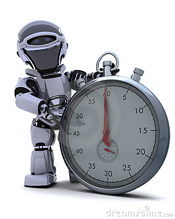 Robot with a Traditional chrome stop watch