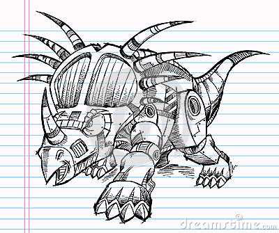 Robot Triceratops Dinosaur Sketch
