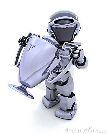 Robot with a trophy