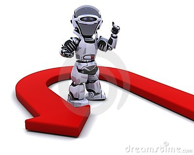 Robot with u-turn arrow