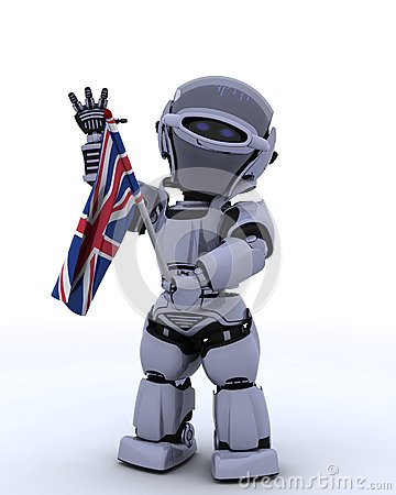 Robot with Union Jack Flag