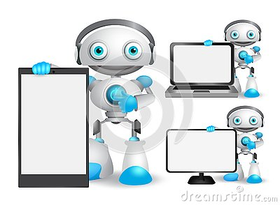 Robot vector characters set holding mobile phone, laptop and other gadget Vector Illustration