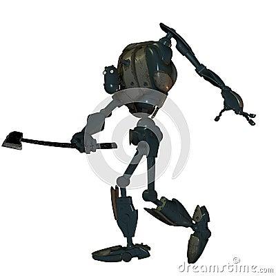 Robot viejo de la batalla con un hacha