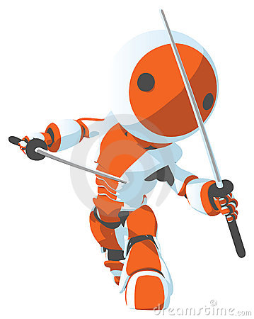 Robot warrior with swords