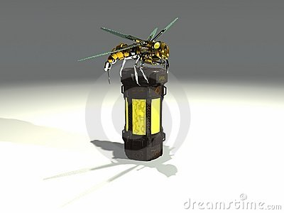 Robot wasp sits on container