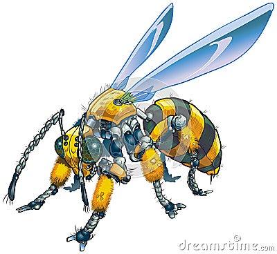 Robot Wasp Vector Clip Art Illustration
