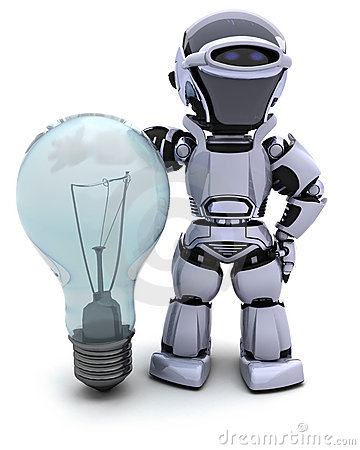 Free Robot With A Light Bulb Royalty Free Stock Photography - 19336967
