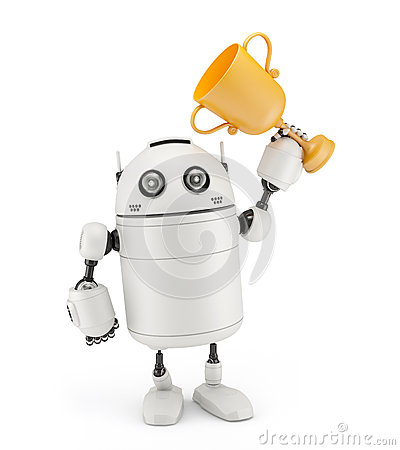 Free Robot With A Trophy Stock Photo - 29346790