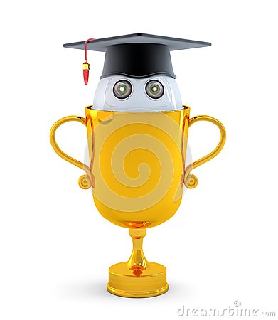 Free Robot With Gold Trophy Royalty Free Stock Image - 38944926