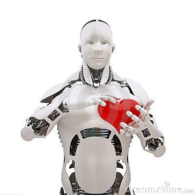 Free Robot With Heart Royalty Free Stock Image - 12571456