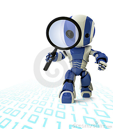 Free Robot With Magnifying Glass Stock Image - 5006231