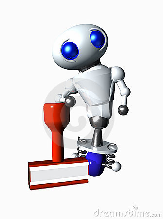 Free Robot With Rubberstamp Stock Image - 6797211