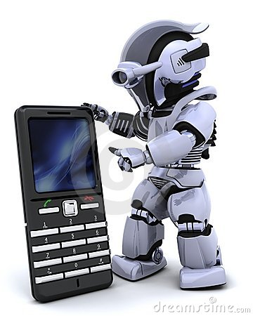 Free Robot With Smart Phoine Royalty Free Stock Photo - 13419175