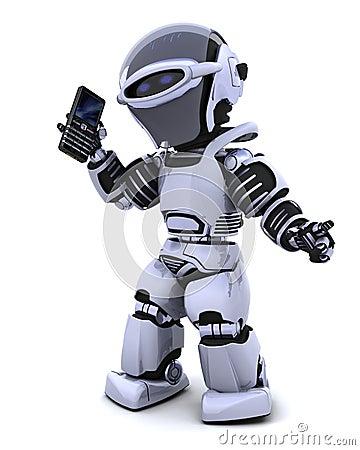 Free Robot With Smart Phoine Stock Photos - 14298683